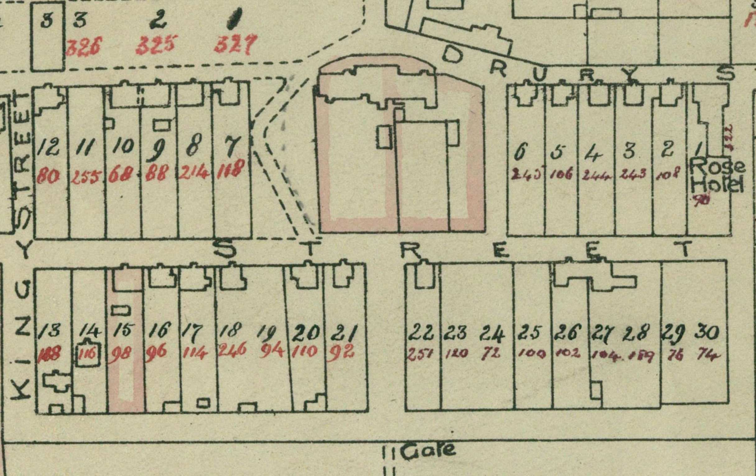 Drury Street and Pioneer Row 1923 Crown Grant Map
